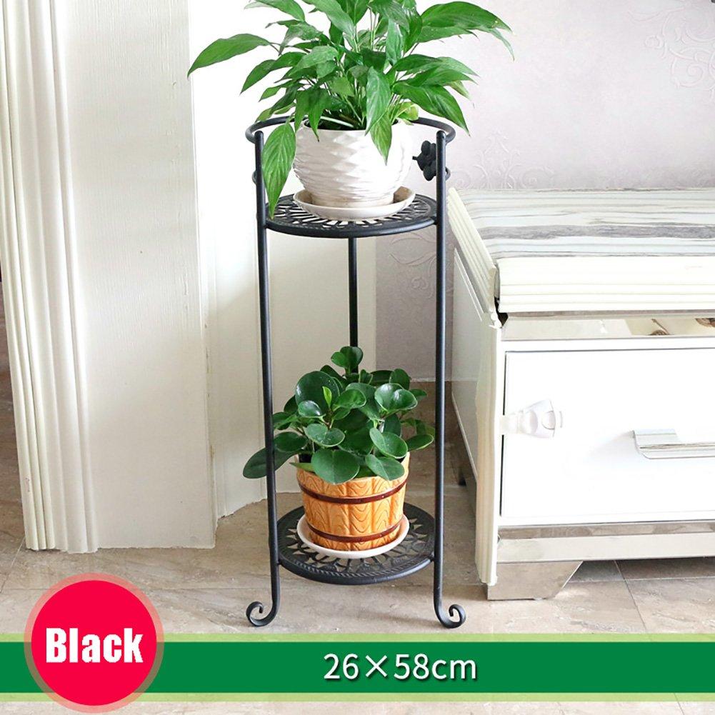 LXLA- 2-Tier Continental Ferro Vaso di fiori Stand a più strati a pavimento in piedi cremagliera in vaso Balcone Indoor Planter Espositore soggiorno 26 × 58 cm (colore   Nero)