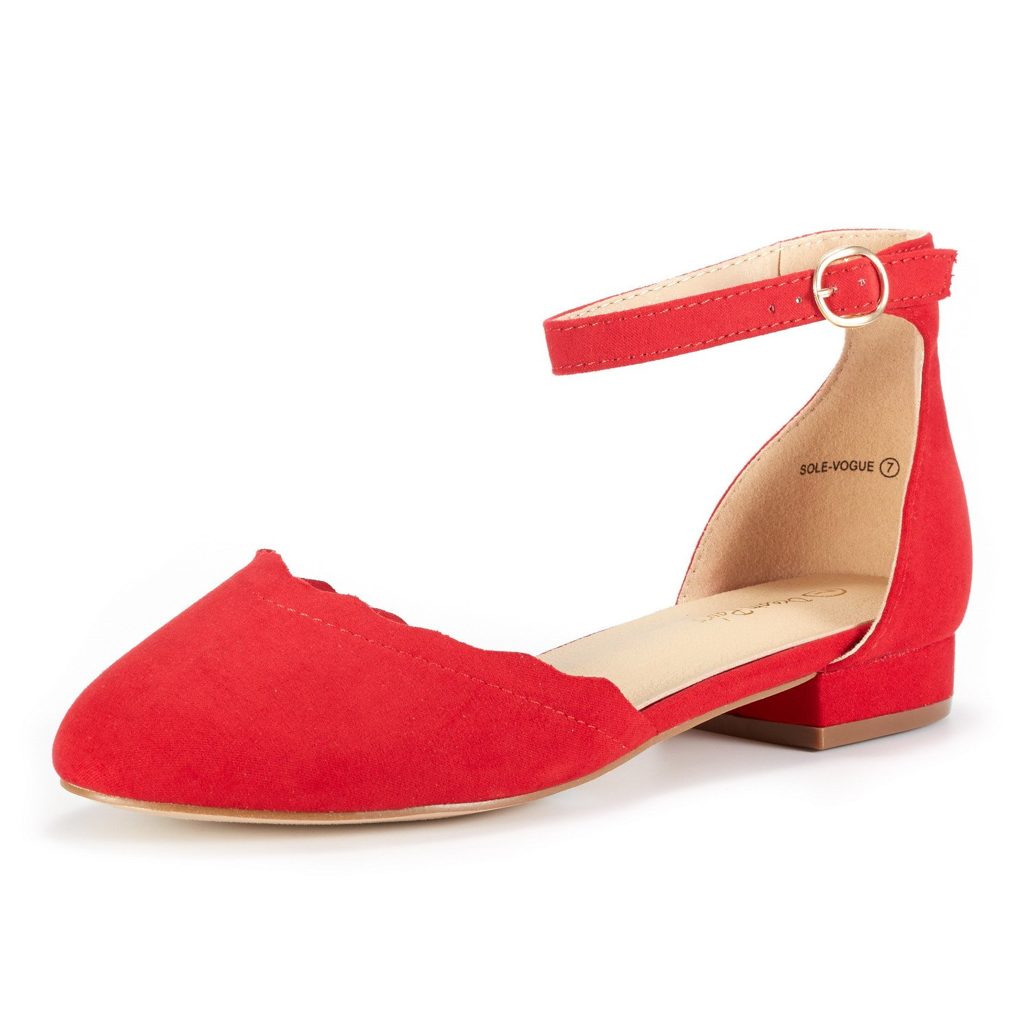 DREAM PAIRS Women's Sole_Vogue RED Fashion Low Stacked Ankle Straps Flats Shoes Size 9.5 M US