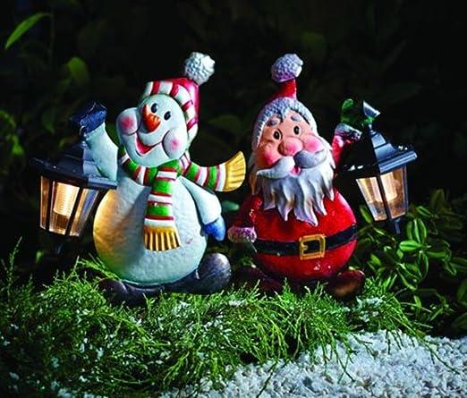 LD XXL jardín macho de metal Figura de muñeco de nieve decorativa navideña de Papá Noel con farol solar conducción (es 3 – 7 días): Amazon.es: Jardín