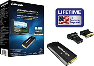 Diamond Multimedia BVU195 USB 2.0 to VGA/DVI/HDMI Video Graphics Adapter up to 2048x1152 / 1920x1080 - Windows 10, 8.1, 8, 7, XP, MAC OS and Android 5.0 and Higher