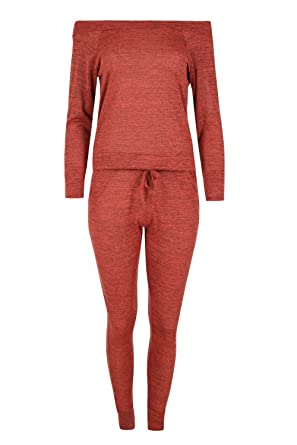 033f2cb600 Oops Outlet Women s Off Shoulder Tracksuit Bardot Marl Knit Jog Suit  Loungewear at Amazon Women s Clothing store