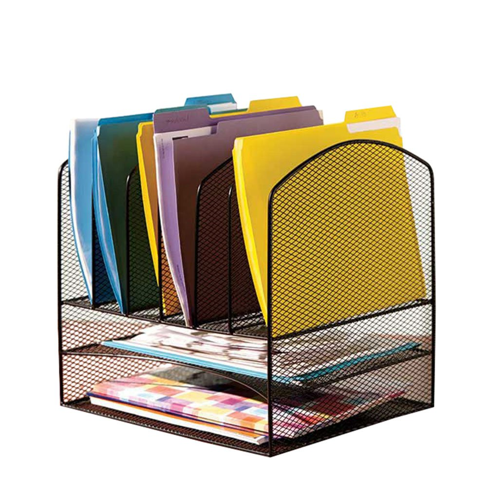 VANRA Metal Mesh Desktop File Organizer File Sorter Desk File Tray Organize with 2 Letter Trays and 6 Vertical Upright File Folder Holder Sections, Black OP-34326