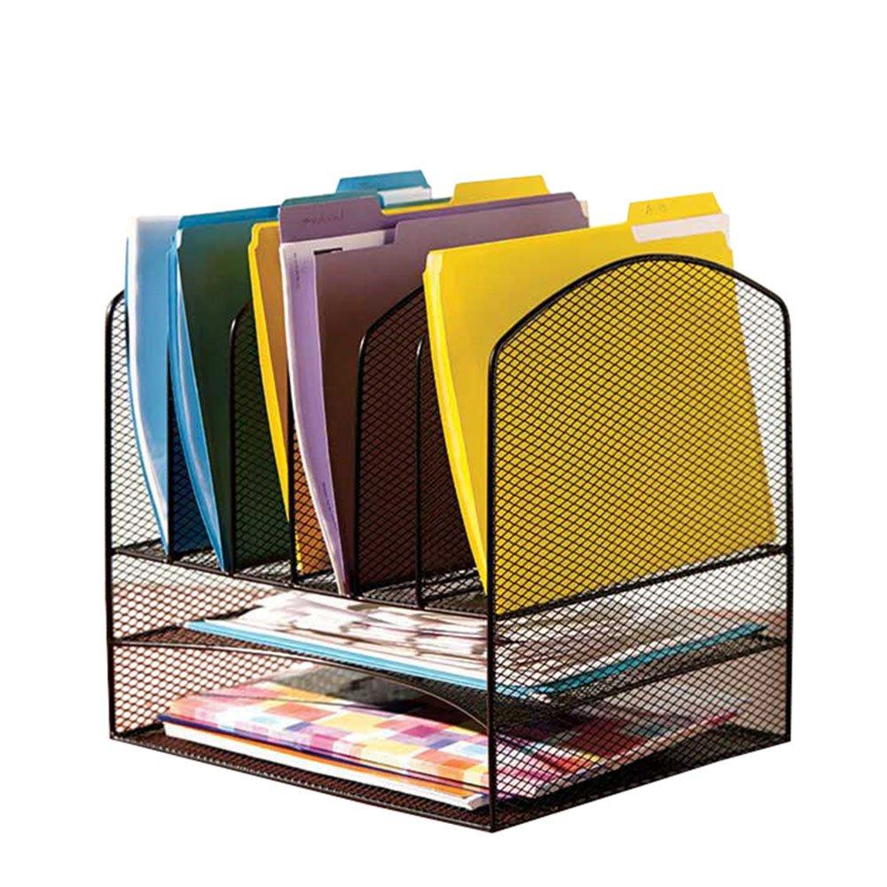 VANRA Metal Mesh Desktop File Organizer File Sorter Desk File Tray Organize with 2 Letter Trays and 6 Vertical Upright File Folder Holder Sections, Black