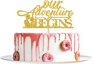 Gold Glitter Our Adventure Begins Cake Topper - Engagement/Wedding/Graduation/Retirement/Anniversary Party Decoration