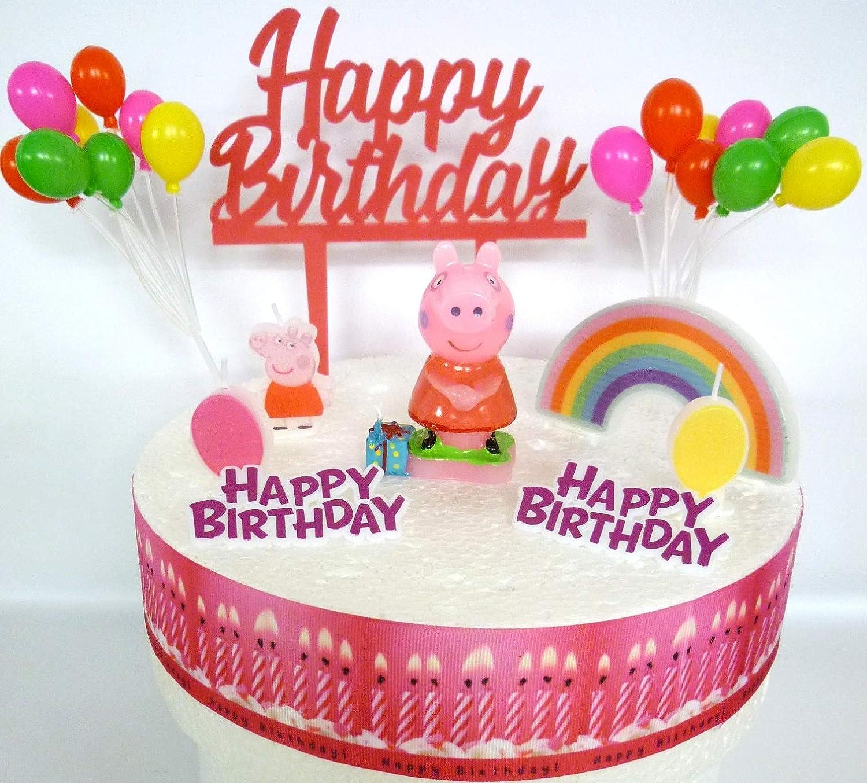 Awesome Osk Peppa Pig Birthday Cake Decoration Set Amazon Co Uk Kitchen Funny Birthday Cards Online Inifodamsfinfo