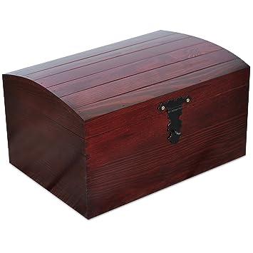 Creative Deco Rojo Cofre Caja Madera con Curvo Tapa | 34,5 x 25 x 19,2 cm | Decoracion Decorar Almacenaje Herramiente Fruta Decoupage Documentos Objetos de ...