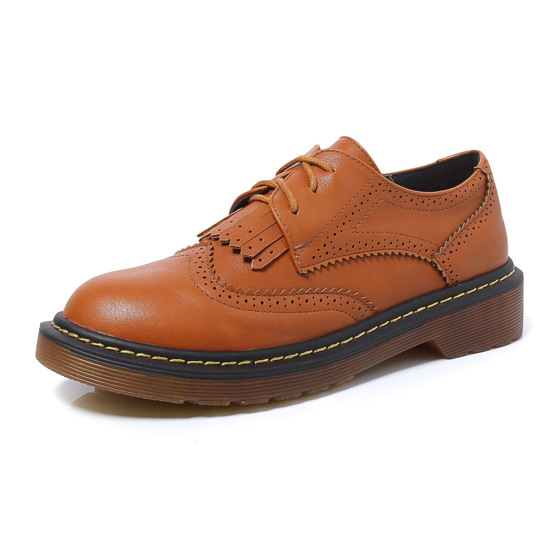 Smilun Chaussures Femme Brogues Rond Richelieu Lacets Autobloquants Frange Bout Marron Lacets Rond Marron d70907c - shopssong.space
