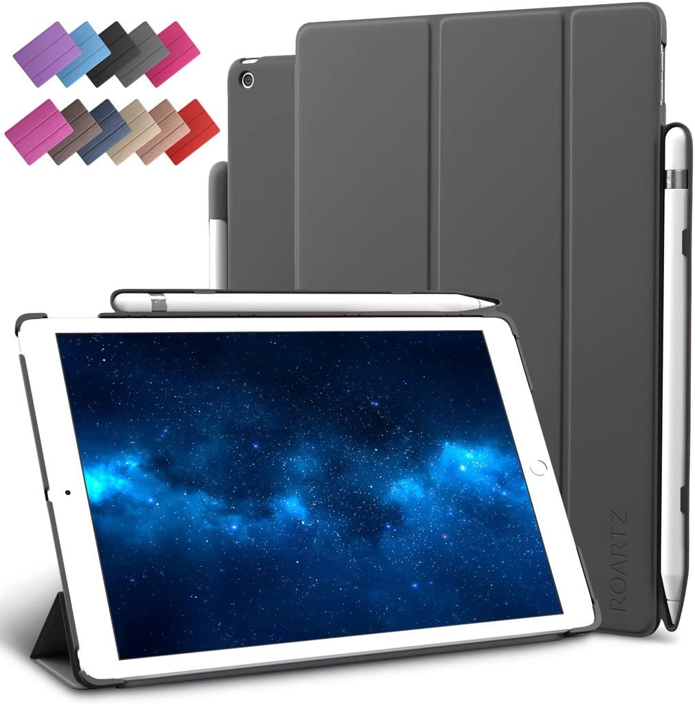 New iPad 9.7-inch 2018 Case Pencil Holder, ROARTZ Shockproof Slim-Fit Smart Rubber Folio Case Hard Cover Light-Weight Wake Sleep for Apple iPad 6th Generation Model A1893 A1954