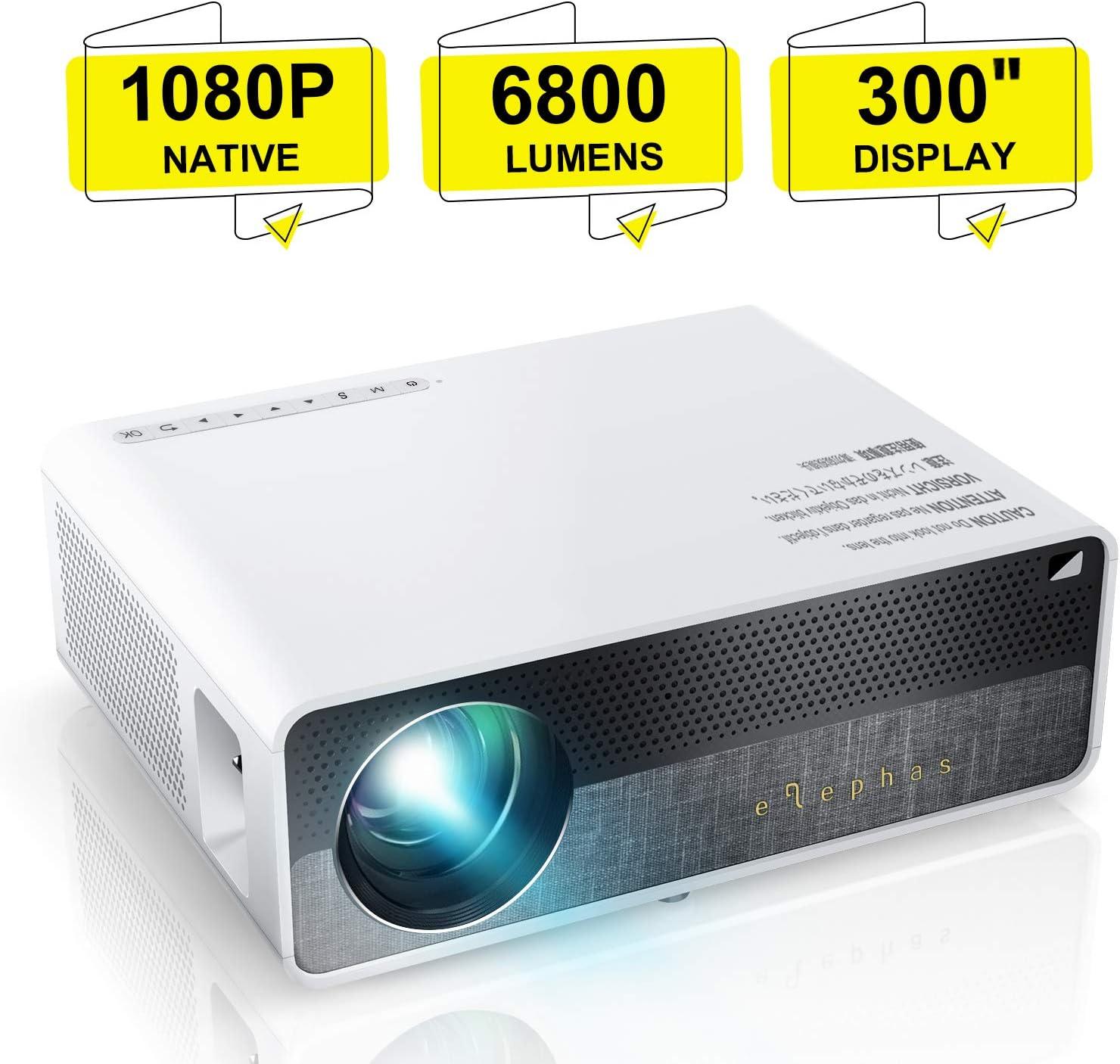 Proyector,ELEPHAS 6800 lúmenes Proyector 1080P Nativo de Video HD ...
