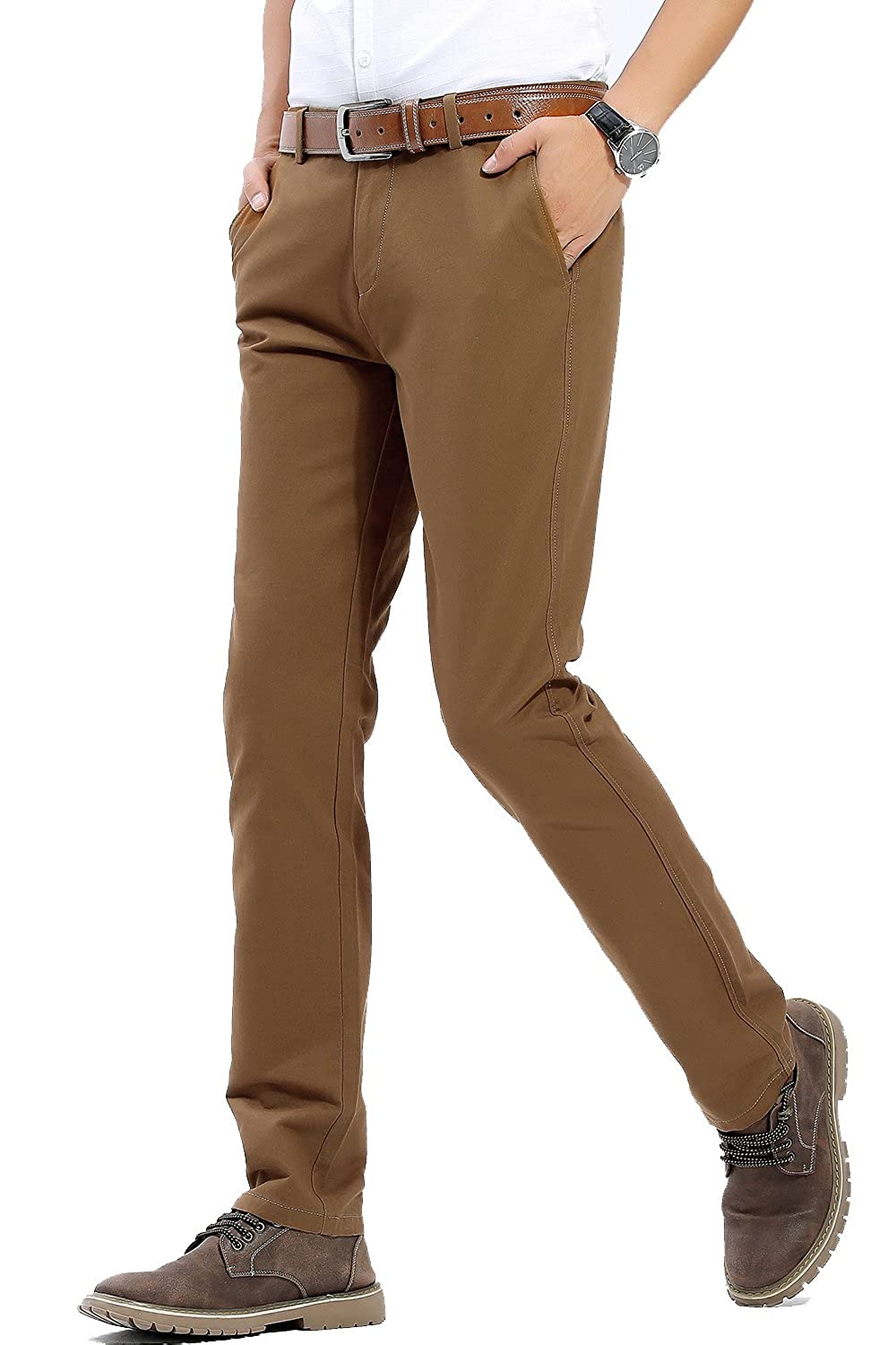 7263200f273 FLY HAWK Mens Slim Fit Tapered Flat Front Casual Pants 100% Cotton Work  Pants