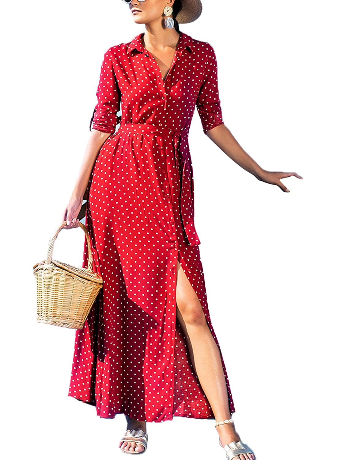 d69e802b84bd7b Asvivid Womens Casual Polka Dot Roll Up Sleeve Button Down Flowy Shirt Maxi  Dress with Pockets