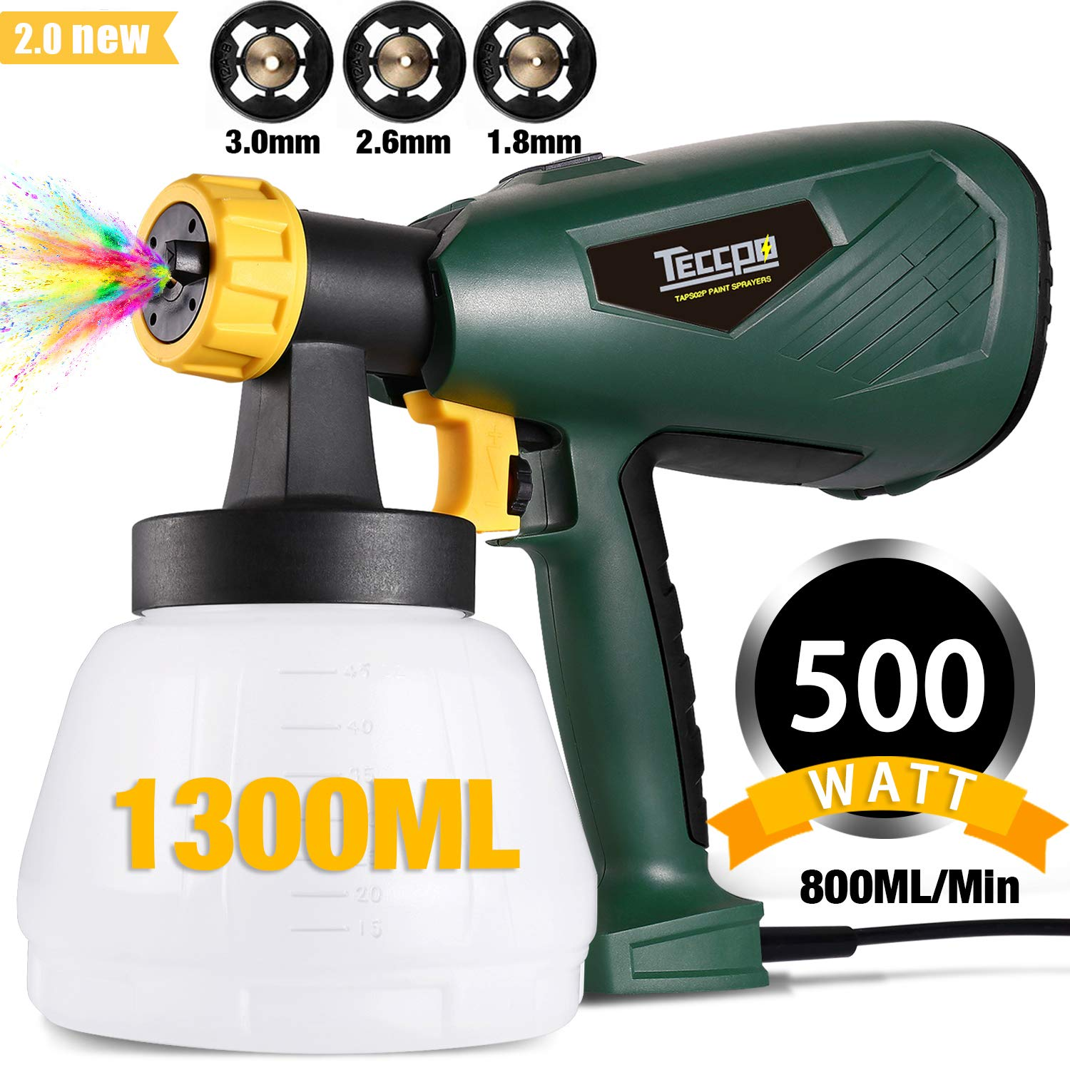 Paint Sprayer, TECCPO 500 Watts 800ml/min HVLP Electric Spray Gun with 1300ml Detachable Container, 3 Copper Nozzles & 3 Spray Patterns, Adjustable Volume Dial for Home Decoration, Limited Time Deal by TECCPO