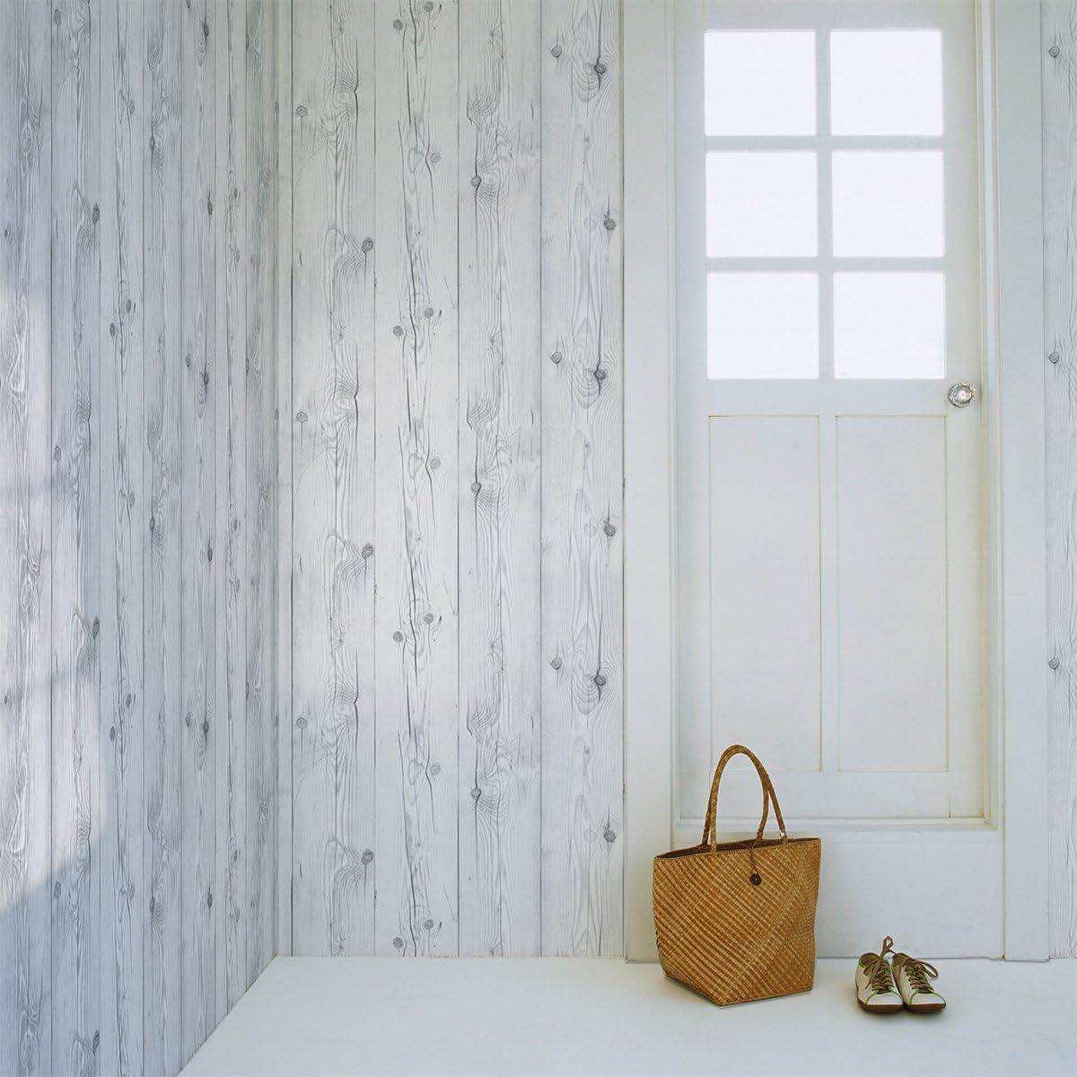 Amazon はがせるdiy壁紙シール ハリーステッカー リフォームシール 粘着付き壁紙 ホワイトリアルウッド 白木目 約50cm巾 15m巻 Diy 工具 ガーデン