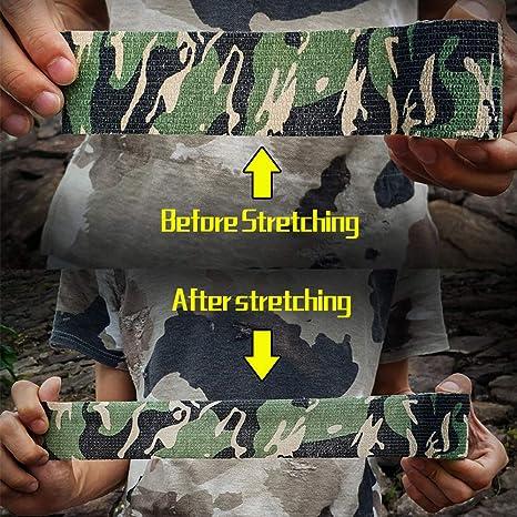 Saccroche au Camping pour la Chasse au Fusil de Chasse Ruban de Camouflage de larm/ée Militaire Durban Rouleau de Bandage Extensible Protecteur auvstar Ruban de Camouflage 5 pi/èces