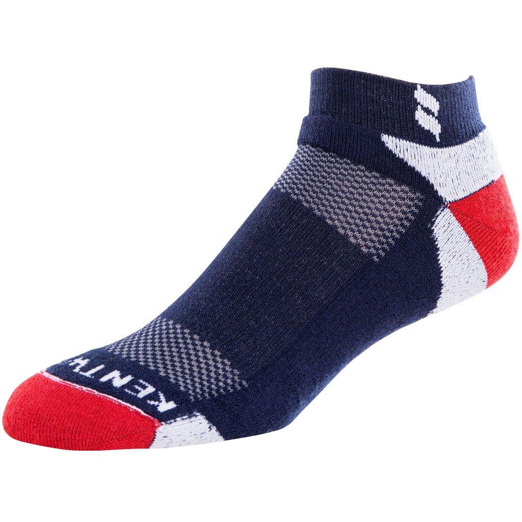 KentWool Men's Tour Profile 6 Pack (6 PAIRS) - Super fine Merino Wool, No Blister Guarantee! (Large (8-11), Red/White/Blue)