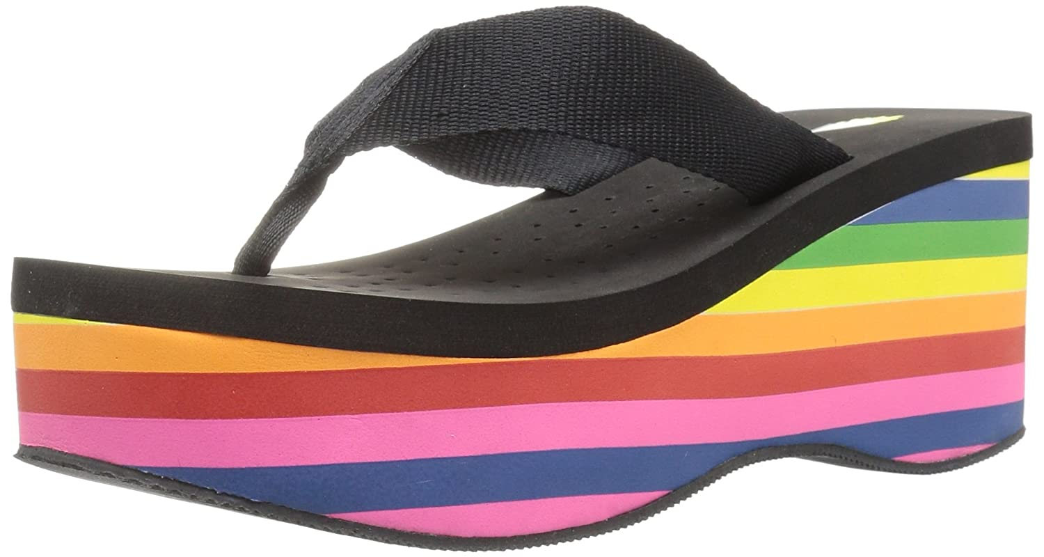 Volatile Women's Cakepop Wedge Sandal B06VWM5J5C 7 B(M) US|Black/Multi