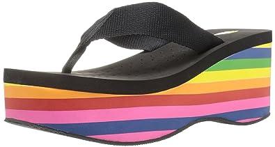 f68f2c9ff1 Amazon.com   VOLATILE Women's Cakepop Wedge Sandal, Black/Multi, 8 B ...