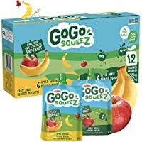GoGo squeeZ Unsweetened Applesauce Pouches, Variety Pack (Apple/Apple Banana Flavours), No Sugar Added - 1,080 Grams (12…