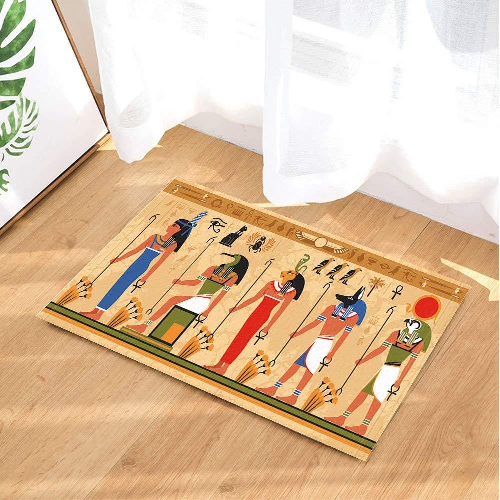 Ägypten Badteppiche, antike Cleopatra Queen mythischen Charakter Sun-Symbol, Rutschfeste Fußmatte Bodeneingänge Indoor-Türmatte vorne, Kinder Badematte, 40x60cm, Bad-Accessoires