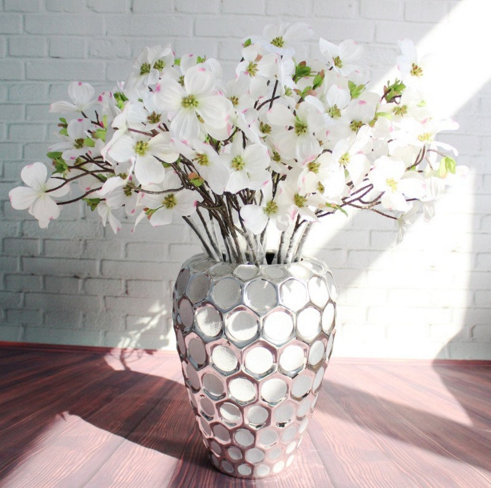 skyseen 5pcs人工Dogwood Blossomシルク花ブライダルFlowers Bouquets Fake Cornus Bushウェディングホームオフィスの装飾用(ホワイト) B07C8BCZG3