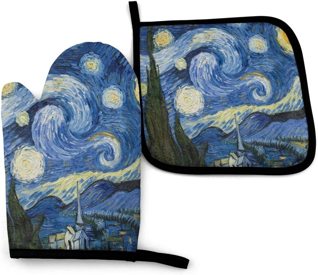 XIAGEANA Unisex Starry Night Pattern Heat Resistant Oven Mitts & Pot Holders for Kitchen Set Soft Anti-Scald Cotton Non-Slip Gloves, Oven Gloves for BBQ Cooking Baking, Grilling 11x 7.8 Inch