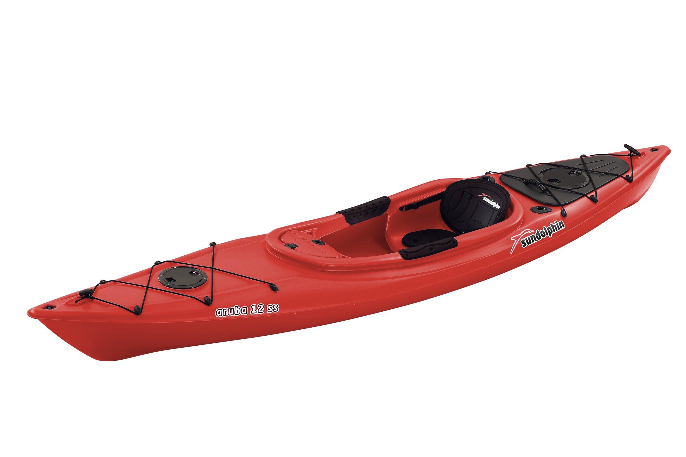 Sun Dolphin Aruba SS Sit-in Kayak (Red, 12-Feet) by SUNDOLPHIN
