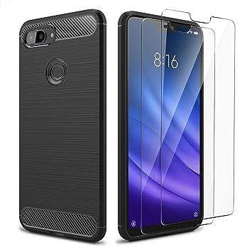 AROYI Funda Xiaomi Mi 8 Lite, [2 Pack] Cristal Templado, Carcasa Silicona Fibra de Carbono TPU Alta Resistente y Flexibilidad Fundas Cover Caso para ...