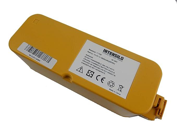Batería INTENSILO NiMH 4500mAh (14.4V) para aspiradores robot iRobot Roomba 400, 4000, 405, 410, 4100, 4105, 4110, 4130, 415 sustituye 11700, 17373.