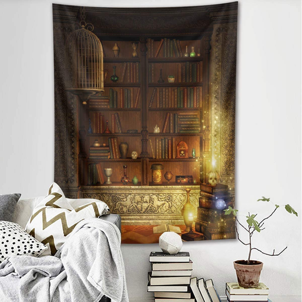 LB Halloween Gothic Libary Tapestry Books on Vintage Shelf with Skull Retro Bookshelf Tapestries Halloween Wall Hanging for Bedroom Living Room Home Decor 93 Lx71 W
