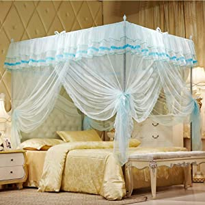"""Uozzi Bedding 4 Corners Post Turquoise Canopy Bed Curtain for Girls & Adults - Cute Cozy Drape Square Netting for Twin Bed - 4 Opening 58"""" W x 80"""" L Mosquito Net - Princess Bedroom Decoration"""