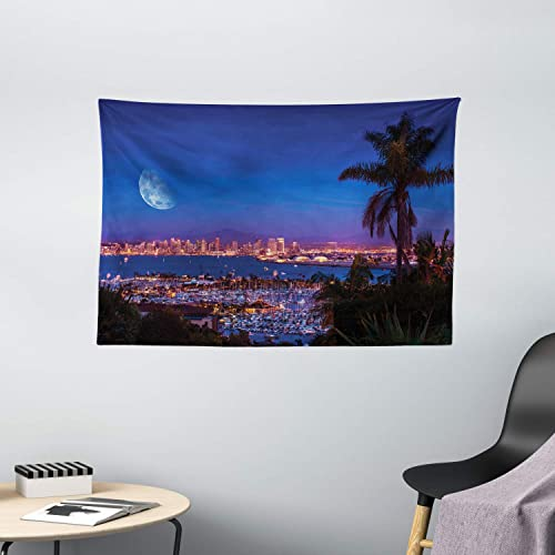 Ambesonne USA Tapestry, San Diego California Night with Large Moon on The Horizon Yachts Panorama, Wide Wall Hanging for Bedroom Living Room Dorm, 60 X 40 , Navy Blue