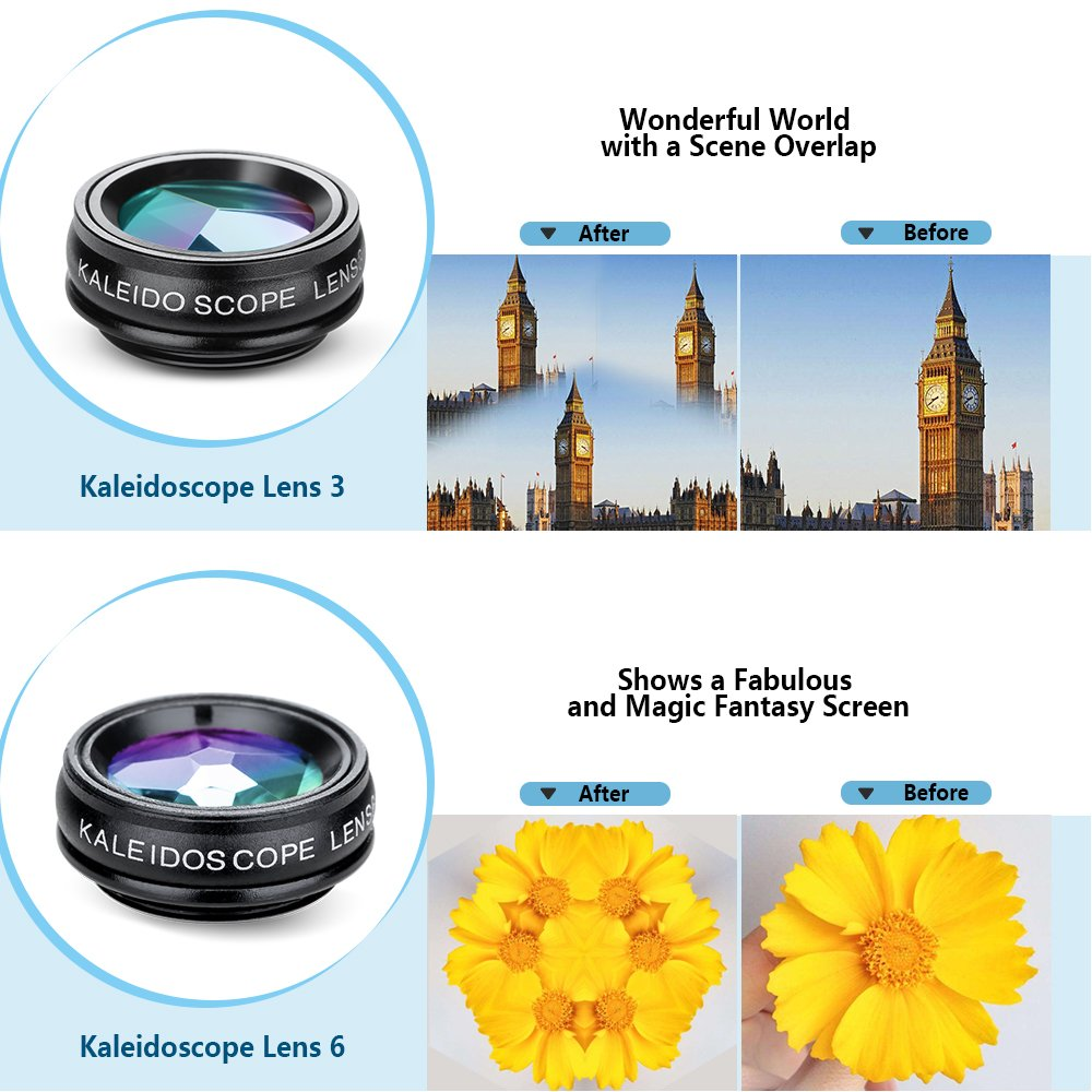 Yimaler Cell Phone Camera Lens Kit, 10 in 1 Micro Camera Lens for iPhone/Android Phone/Tablet/Laptop Included 0.63X Wide Angle Lens+15X Marco Lens+198° Fisheye Lens+2X Telephoto Lens+CPL/Flow/Radial/S by Yimaler (Image #2)