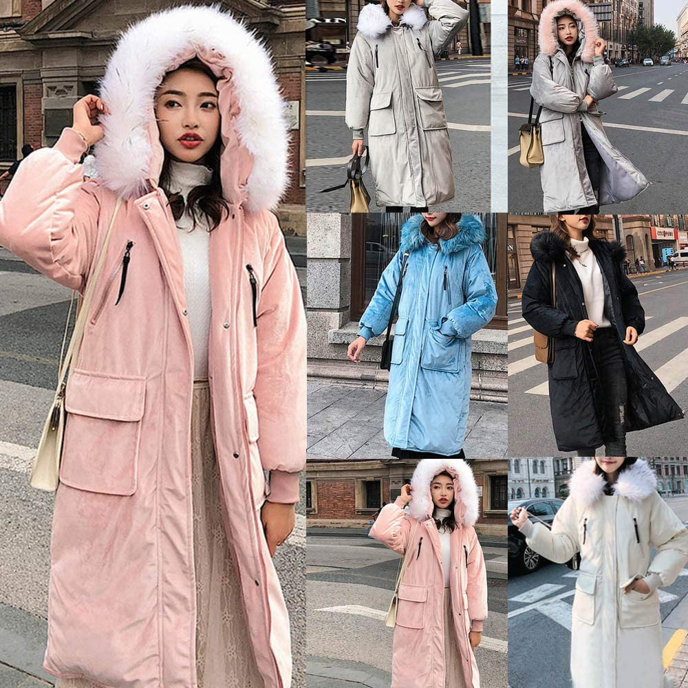 RNTOP Fashion Long Coat Knee Length Thicken Fur Hooded Coat for Winter Women Solid Warm Overcoat