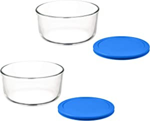 Klareware 7 Cup Glass Food Storage Containers Stackable Meal Prep Lunch Bento or leftover salad bowls 2 Piece Dish w BPA Free Lids (Blue)
