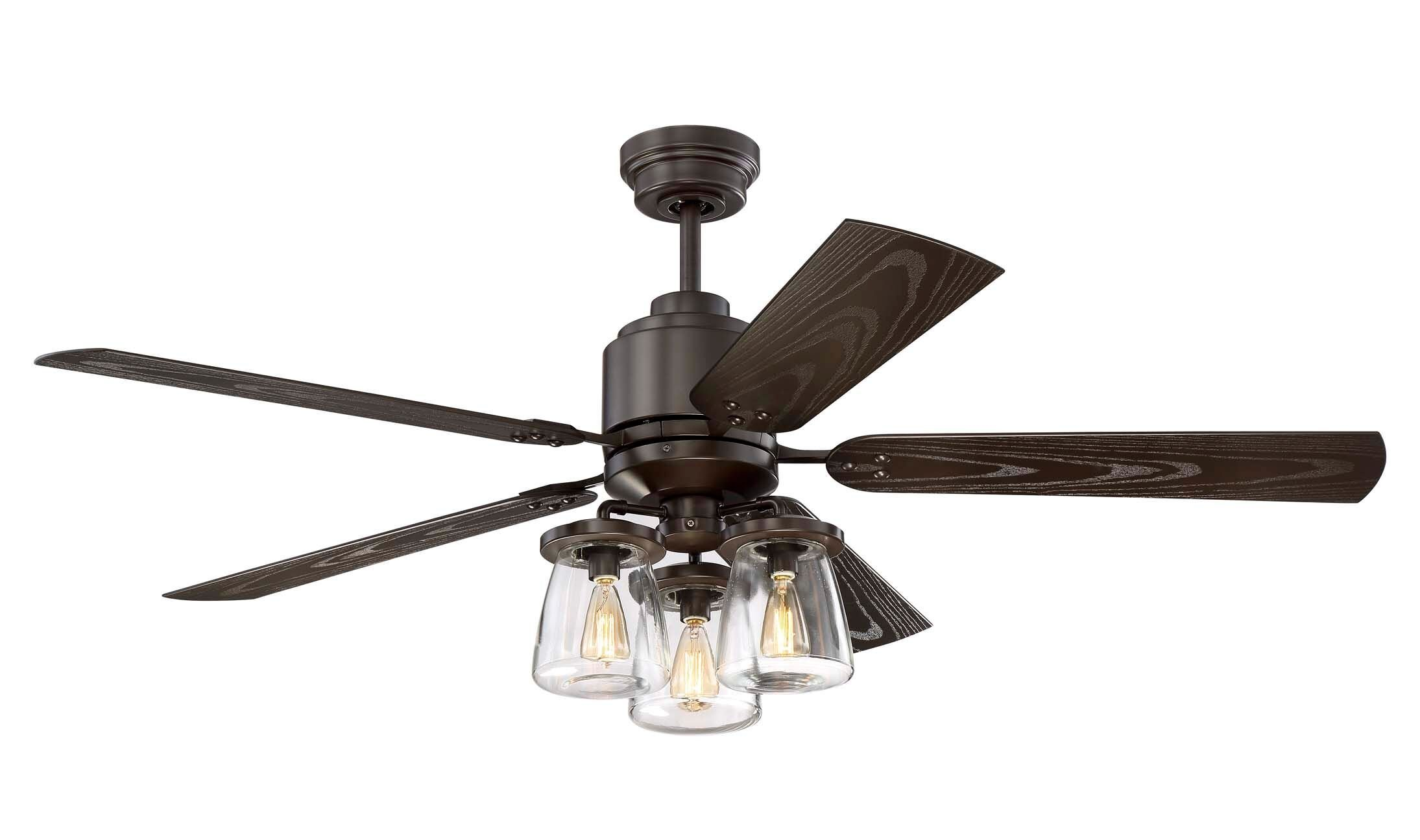 Litex COS52OSB5CR Andrus 52'' Indoor/Outdoor Ceiling Fan with Remote Control, Five Dark Bronze Blades and Three Light Kit with Clear Glass