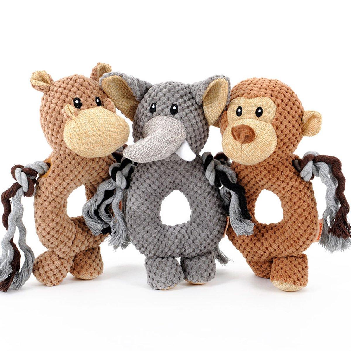 UHeng Pet 10  Inch Dog Squeak Toys Plush Horse Elephant Monkey Tough Chew Toy (3 Pack)