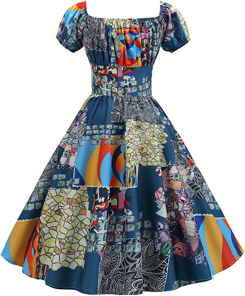 FEDULK Womens Vintage Retro 1950s Dress Short Sleeve Floral Print Aline Evening Party Gown Prom Swing Dress