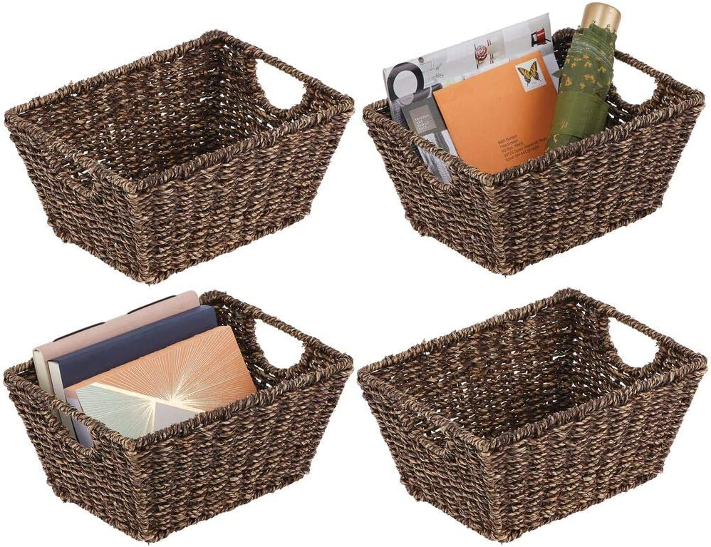 mDesign Natural Woven Seagrass Nesting Closet Storage Organizer Basket Bin for Kitchen Cabinets, Pantry, Bathroom, Laundry Room, Closets, Garage - 4 Pack - Dark Brown
