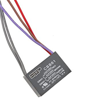 HQRP Capacitor Works with Harbor Breeze Ceiling Fan CBB61 5uf+5uf 4-Wire  Plus HQRP Coaster