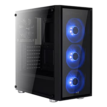 Aerocool QUARTZ - Caja gaming para PC (semitorre, ATX, 2 paneles de cristal