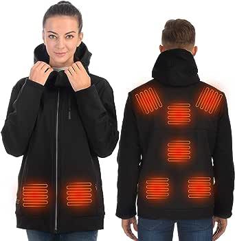 Anoopsyche Chaqueta Calefactable para Hombre y Mujer, Chamarra recargable USB con 8 elementos calefactores, Abrigo calefactora con ajuste de temperatura de 3 niveles, Apto para deportes al aire libre