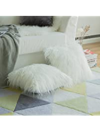 Pack Of 2,Miulee Decorative New Luxury Series Merino Style White Fur Throw  Pillow Case