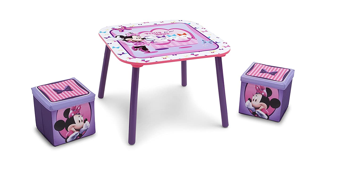 Disney Minnie Mouse Table and Ottoman Set with Storage TT89423MN