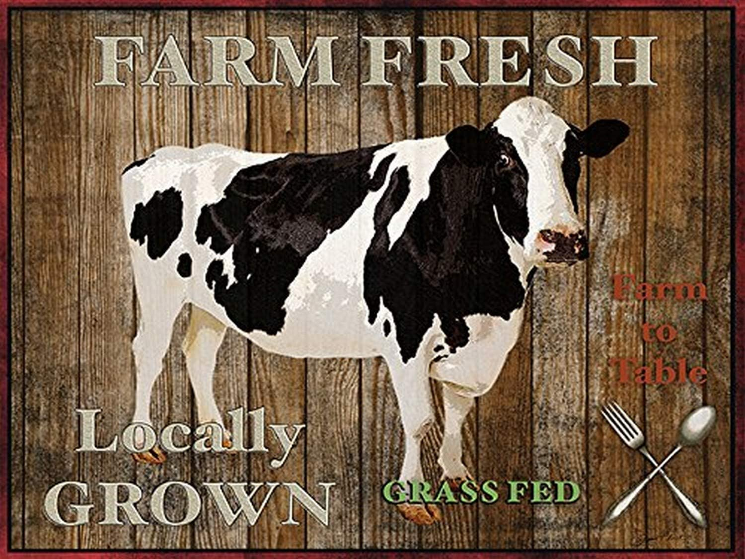 Farm Fresh Cow 24x18 Giclee Country Art Print Poster Decor by Jean Plout