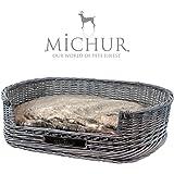 MICHUR GRACE, Hundebett, Katzenbett, Hundekorb, Hundesofa, WEIDE, RATTAN, Grau, in verschiedenen Größen erhältlich!