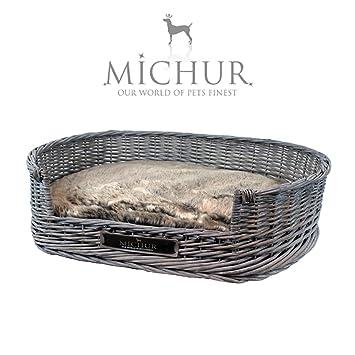 MICHUR GRACE, Cama del perro, cama del gato, cesta del gato, cesta del perro, sauce, mimbre, gris: Amazon.es: Hogar