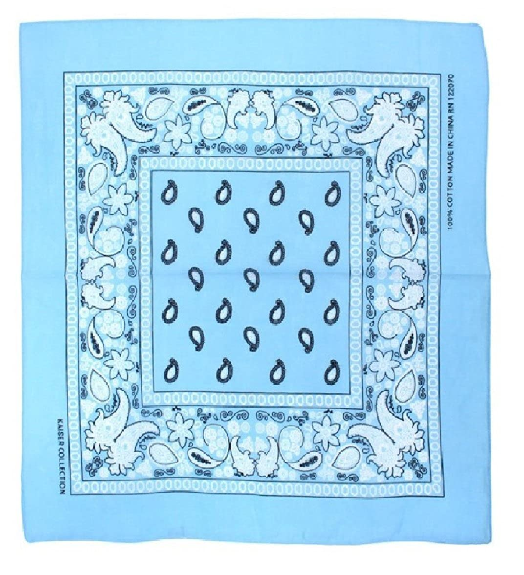 TC-Accessories BLUE White Fitted Bandana cotton zandana durag freeform paisley