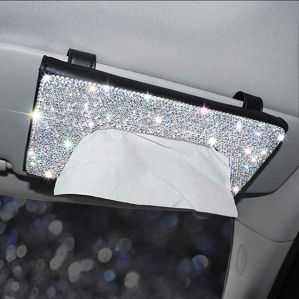 Bling Car Visor Tissue Holder MTGOCHA PU Leather Car Napkin Holder Luxury Car Tissue Box Case Crystal Rhinestone Paper Towel Box Bling Car Accessories for Women Girls