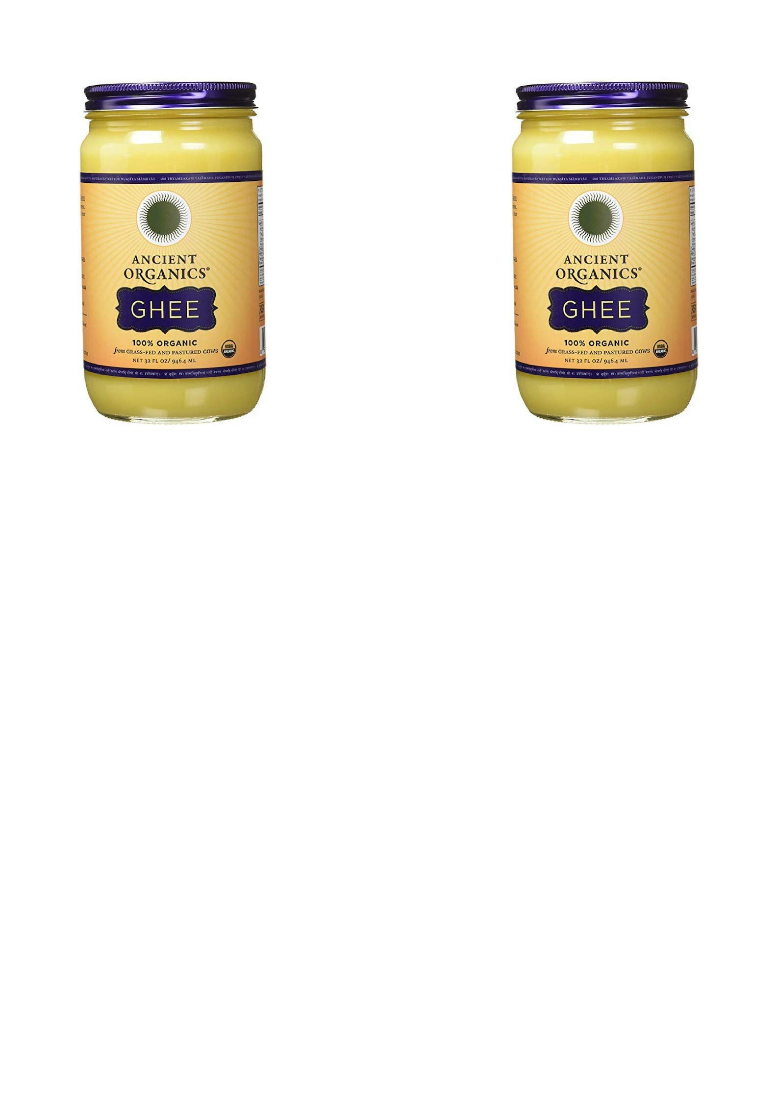 ANCIENT ORGANICS 100% Organic Ghee from Grass-fed Cows, 32oz (2 pack)