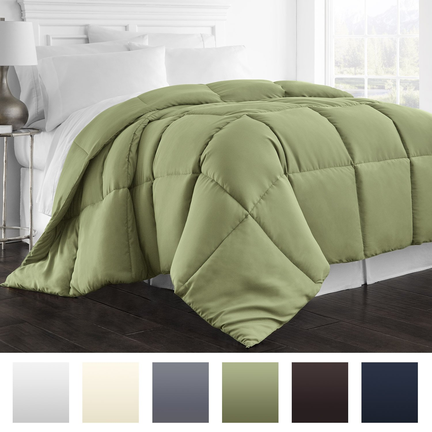 Goose Down Alternative Comforter - Hypoallergenic - King/Cali King - Sage/Solid